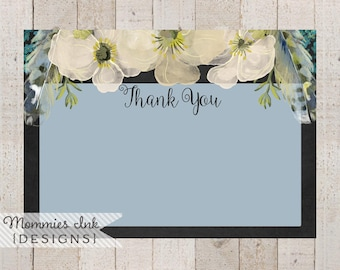 Spring Thank You Note,Chalk Floral Thank You,Boho Chic Feathers Thank You, Watercolor Poppy Flat Thank You Note, Boho Thank You Note