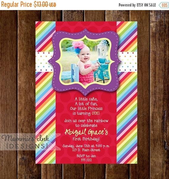 10% OFF SALE Rainbow Birthday Invitation, Photo Rainbow Invitation, Rainbow Birthday Party invitation, Rainbow Invite, Rainbow Party, 1st Bi