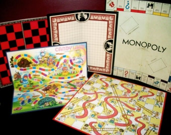 5 Vintage Game Boards Monopoly Candyland Chutes & Ladders Pente Checkers Chess