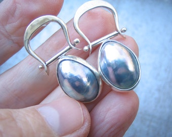 Sterling Silver Forged and Hinged Blister Pearl Post Earrings, Hand Fabricated, Sterling Silver
