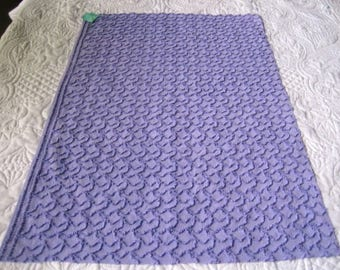 "Deep Periwinkle Cabin Crafts Squiggle Pattern Vintage Chenille Bedspread Fabric 32"" x  20"""