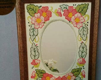 Pink Flower Frame Jiffy Stitchery #886 1980 Perfect vintage embroidery kit oval opening or mirror cherry blossom easy stitches special day