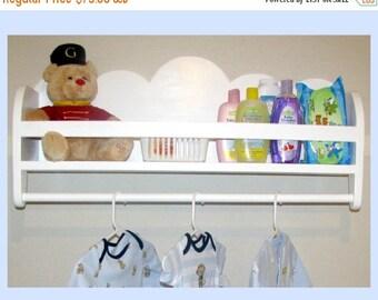 CLOUD BABY ORGANIZER - Children's & Nursery Decor, Wall Shelf with Clothing Rod