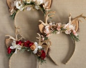 Christmas Holiday Antler Flower Headband...Red, Pink or Gold Colorways with fur ears on a Hard Headband