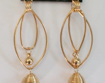 Gold Plated Earrings Double Loop Earring Tear Drop Earrings Pearl Coil Earrings Pierced Earring Dangle Earrings