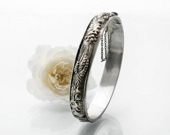 Victorian Bracelet Sterling Silver Bangle | Antique Bracelet Harvest Fruit Pattern | Ceres Repoussé Hinged Bangle - Medium Size 7 Inch Wrist