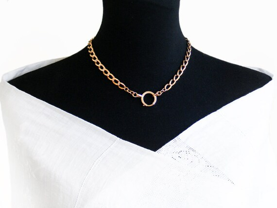 Antique Fob Chain | Victorian Rolled Gold Chain | Large Gold Bolt Ring Clasp | Heavy Rolled Gold Watch Chain  - 18.5 Inch Fob Chain Necklace