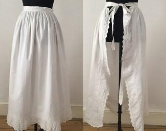 Antique Edwardian White Cotton Apron / Pleats Embroidery Anglais