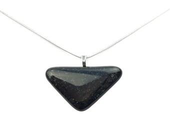 Pendant Necklace, Black Triangle, Art Glass Jewelry