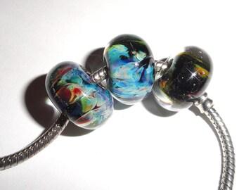 SALE! Storm Euro charm Lot A...3 beads..Blues, Greens, Black  Handmade Lampwork Beads for European bracelets...BeatleBaby Glassworks