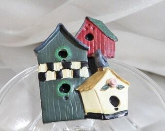 ON SALE Vintage Birdhouse Brooch. Spring Birdhouses Pin.  Folk Art Bird House Brooch. Resin.