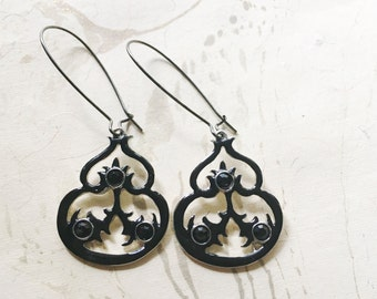 Black Vintage Victorian Earrings Enamel Rhinestones