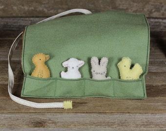 handmade wool felt pocket pal play pouch with four farm animal pocket pals by kata golda