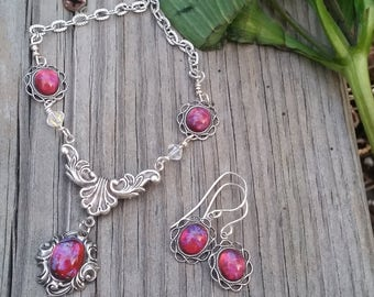Medieval Dragon Breath Necklace with Swarovski Links, Mexican Fire Opal Necklace, Opal Necklace, Summer gifts, July gifts, Goth Necklace