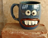 Mom Love Mug.Fun Woman Girlfriend Wife Coffee Cup. Mugs for Her. Funny I LOVE EVERYTHING Face Mug Blue. Ug Chug Goofy Tea Mug.