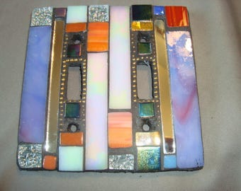 MOSAIC LIGHT SWITCH Plate Cover - Double, Wall Plate, Multicolored Stained Glass