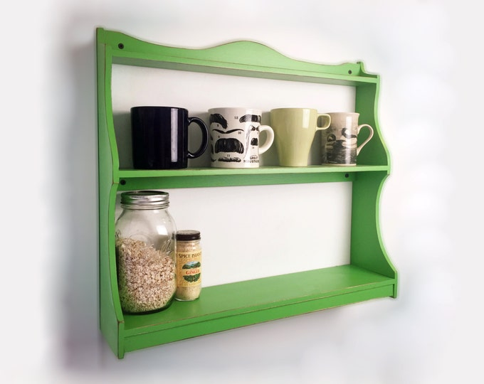 Handmade Spice Rack or Wall Shelf in Color of Your Choice - Wooden Spice Rack - Wall Mounted Shelf Unit - Customizable