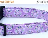 ON SALE Purple Peacock Flowers with White Blue and Green Floral Spring Dog Collar