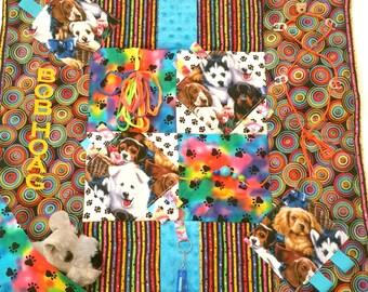 "Dog Fidget Blanket / 25"" x 25"" /Alzheimer's Stroke Rehabilitation Dementia Patient Restless Sensory Blanket/FREE NAME"