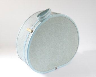 Vintage Samsonite Round Suitcase • Vintage Round Train Case • Vintage Baby Blue Tweed Suitcase