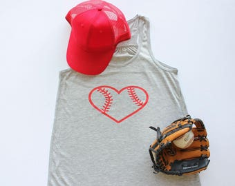 Baseball or Softball tank top support your team and ball player flowy back ballpark mom top