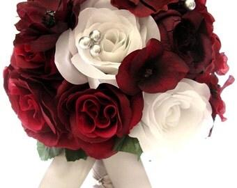 "17 Piece Package Wedding Bouquets Bridal Bouquet Wedding Silk flower BURGUNDY PLUM SILVER Gray White Wedding Centerpiece ""RosesandDreams"""