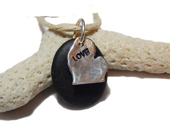 Love Michigan Beach stone Pendant Black stone, Michigan rock,  Lake Michigan, Memories of the Beach, Drilled Beach Stone Hand  Stamped Charm
