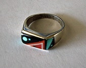 Native American Silver Ring Micro Inlay