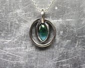 Blue-Green Tourmaline Silver Necklace Ocean Underwater Deep Dark Mysterious Marquise Cabochon Pendant Oxidized Gift Idea For Her - Ocean Eye