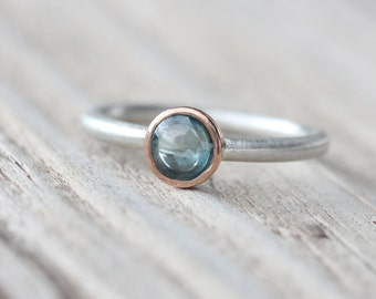 Modern Muted Blue Zircon Silver Rose Gold Ring Round Cabochon Pale Steel 14K Pink Bezel Subtle Pastel Colors Gift Idea For Her - Sky Lens