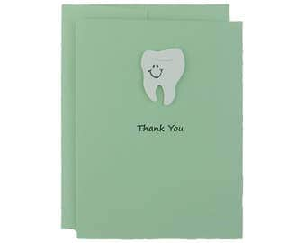 Pastel Green Tooth Card Thank You Card Teeth Dentistry Greeting Card Dentist Gift Dentist Card Thank You Dental Hygienist Dental Tooth Cards