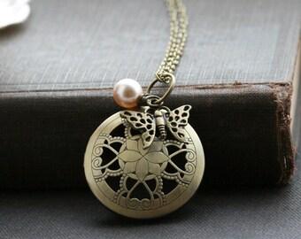 Butterfly locket necklace, round locket butterfly, gold locket necklace, photo locket necklace, picture locket, gift for her, lockets -Anne