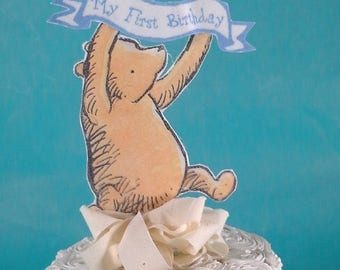 Classic Pooh bear cake topper, fabric Winnie the Pooh birthday party decoration D290