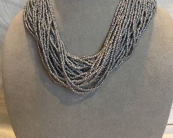 Silver Grey Seed Beaded Necklace