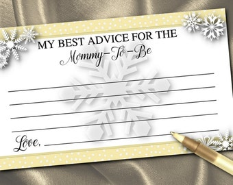 10 New Mother Shower Activity Cards, Mommy to Be Advice Cards, Baby Shower Party Games, Winter Snowflakes, Silver or Gold