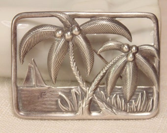 Vintage CORO Sterling Brooch Palm Trees Signed Coro Jewelry Coro Brooch Sterling Silver Jewelry Signed Designer Jewelry