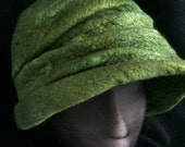 Rich green merino and silk cloche style hat