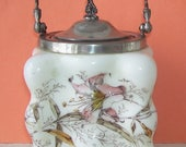 Antique Wave Crest Victorian Biscuit Jar or Egg Crate, Porcelain Cracker Jar, C. F. Monroe Hand Painted with Lilies, Victorian Art Glass