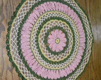 Hand Crocheted 16 In. Pink Green Gold Round Doily, Home Decor, Parlor Table, Hand Designed ,Centerpiece doily, Lace Doily, Vintage Linens