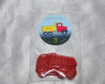 Dump Truck Crayons And Truck Stickers, Party Set For 20 Kids, 20 Truck Crayons And 20 Truck Stickers.  Kids Party Favors, Crayons.