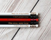 Personalised Introvert Pencils - Choose your colour and any wording  - Custom Fun pencils