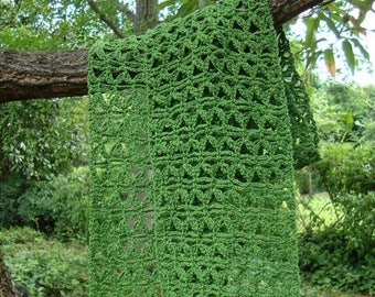 25% OFF Crochet Scarf, Crochet Scarves, Crocheted Scarf, Green Scarf, Mom Gift, Mother's Day Gift, Gift for Her, Lace Scarf, Cotton/Hemp Sca