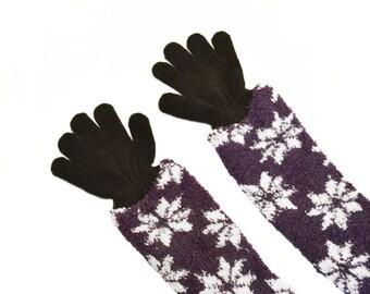 Childrens Long Gloves, toddler gloves, baby gloves, black gloves, purple