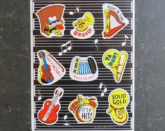 Vintage Hallmark Music Teacher Student Reward Stickers Full Sheet of Nine