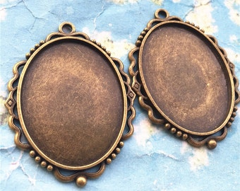 NEW COME 5pcs  53x39mm antiqued bronze oval cameo/cabochon base setting pendant blanks/bezel trays(40x30mm incavity)