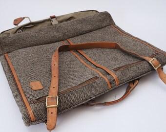 Hartmann Tweed Garment Bag Folding-23 x 18 Folding Leather Tweed w/ Pockets-NICE