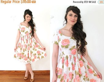 ON SALE 1950s Floral Dress / 50s 60s Floral Pink Peony Rose Print Full Skirt Dress