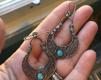 Opal Earrings - Filigree - Sterling Silver - Vintage