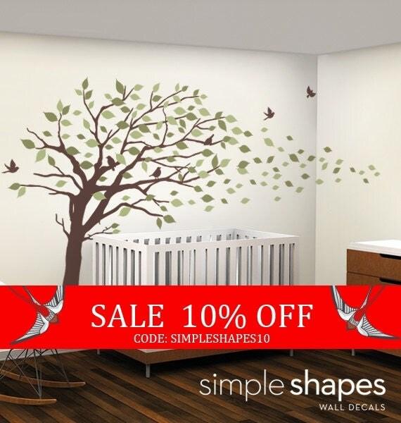 Sale - Vinyl Wall Art Decal Sticker - Blowing Leaves Tree - LARGE