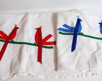 Red Bird - Blue Bird Dish Towels Handcrafted Birds